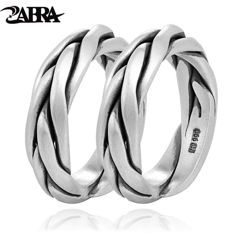 Retro Thai Silver Rotation Twist Wide Ring For Women Men Wedding Summer Jewelry