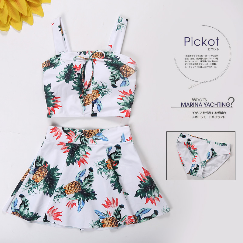 2017 New Design Summer Floral Printed Swimwear Womens Dress Swimsuit Bikinis Sexy High Neck Bikini Set<br>