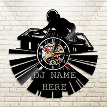 "1Piece DJ Creative Vinyl Light Personalized 12"" Disco Custom Name Laser Etched Wall Art Music Vinyl Record Wall Clock Home Decor(China)"