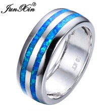 JUNXIN Fashion Women Blue Fire Opal Ring High Quality 925 Sterling Silver Filled Jewelry Promise Engagement Rings For Women(China)