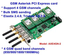 AXE4GN -2 2 Channels GSM GPRS Cell Asterisk PCI-E Card 2 SIM Modules with 2 Antenna GSM connectivity for Asterisk IP PBX