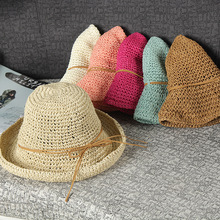 2017 Korean summer influx women wear fisherman hat bucket hats Rattan straw cap holiday beach bow knot  hollow Anti-UV Foldable