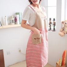 Kitchen Waterproof Halterneck Apron Dress Lattice Pattern Backing Cooking Dress With Two Pockets For Chefs Housewife Lady