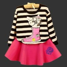 2PCS Baby Kid Girls kids clothes Casual Cute Cat Sweater Tops+ Skirt Outfits Clothes 1-6Y Big Discount