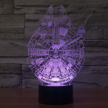Foreign trade Star Wars Millennium Falcon 3D lamp acrylic visual stereo LED colorful gradient atmosphere table lamp