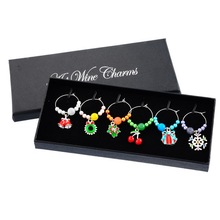 1Box Mixed Wine Charms Christmas Party Drink Marker Table Decor Design Christmas Snowflake Party Suppies(China)