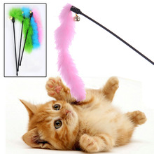 Lovely Cat Favorites Pink Blue Green Color Turkey Feather Wand Stick For Cat Plastic+Fleece Toy For Pet Free Shopping(China)