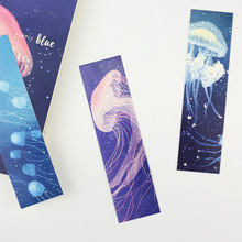 30 Pcs/lot Cute Kawaii Dreamlike Deep Sea Fluorescent Jellyfish Paper Bookmarks Book Clip Office Accessories School Supplies