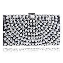 Beaded One Side Women Evening Bags Messenger Lady Handbags Purse Evening Bag Silver/Gold/Black Chain Day Clutches Wallets