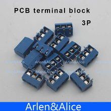 100 pcs 3 Pin Screw blue PCB Terminal Block Connector 5mm Pitch