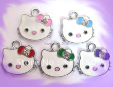30pcs Free shipping colorful hello kitty charm pendant animal charms pedant DIY JEWELRY ACCESSORIES