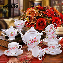 YeFine Ceramics Gold-rimmed 15 Heads Bone Ceramic Coffee Set Continental Cup and Saucer Porcelain Teapot Luxury Gifts