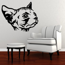 Wall Decal Sphynx Cat Creative Cat Head Vinyl Wall Sticker Free Shipping Wall Mural Home Room Special Animals Art DecorWM-162