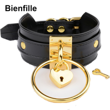 Hyperbole 60mm Big O Round With Lovely Lockable Heart Choker Harajuku Oversized Black Exclusive Personalized Leather Necklace