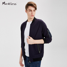 Markless 2017 New Navy Blue Baseball Coat Men Casual Solid Tops Fashion Man Baseball Jackets Hot Sale WYA7408M