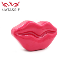NATASSIE New Charming Red Lip Women Acrylic Bag for Party Clutch Handbag with Long Chain Evening Bag Solid