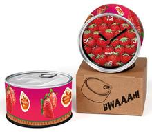 Free Shipping Strawberry 2pcs/lot Fruit Kitchen Fridge Magnets Aluminum Can Wall Clocks,Metal Tin Quartz Desk Clocks