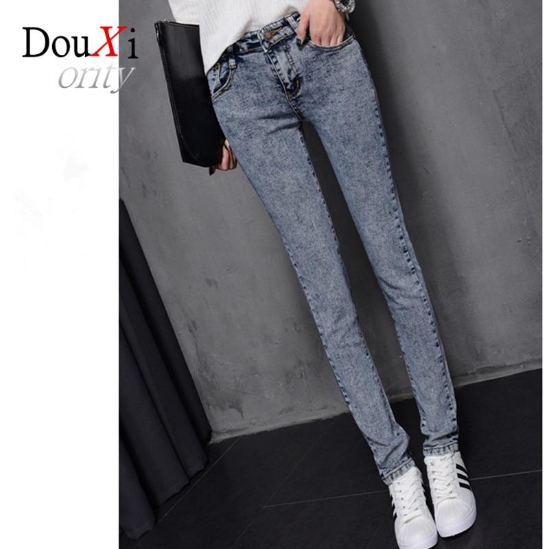 2017 Women Snowflake Casual Slim Vintage Light Blue Jeans Stretch Skinny Female Mid Waist Elastic Pants Plus Size 26-31Одежда и ак�е��уары<br><br><br>Aliexpress