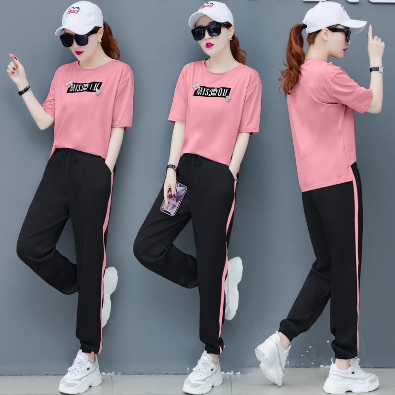 Fashion Sports suit female New trend Lady suit Large size 2 piece set women summer Leisure tracksuit women Youth clothing 1254