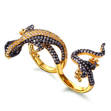 2-Finger rings Hot Lizard look Fashion design Women Unique Gold-color Cubic zircon Jewelry Super High quality Women Animal ring