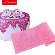 Castle Silicone Cake Lace Mat Silicone Lace Mold Fondant Cake Decorating Tools Border Decoration Lace Mold Stencil Baking LFM-28