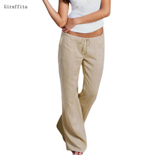 2017 Giraffita Women High Waist Elastic Linen Trousers Female Straight Casual Pants Loose Long Trousers 3 Colors