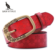 SAN VITALE Fashion New Designer Women's Belts Genuine Leather Brand Straps Female Waistband Pin Buckles Fancy Vintage for Jeans(China)