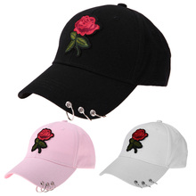 Unisex Casual Baseball Cap Flower Embroidery Adjustable Iron Ring Hat Snapback Hat Curved Caps Women Men Hip Hop Hat