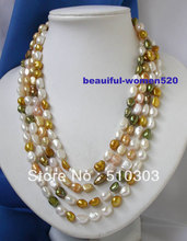 beautiful 100'' unique white pink coffee baroque pearls necklace(China)