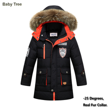 Big Boys Winter Jackets True Fur Hooded Down Coats For Boys Thicken Outerwear Warm Down Parkas Jackets 8 9 10 12 14 15 16 Years(China)