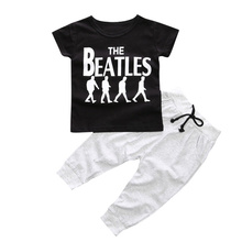 Baby Boy Clothes 2pcs Short Sleeve T-shirt Tops +Pants Outfit Clothing Set Suit with The Beatles printed(China)