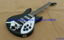 Custom Electric Guitar,black ricken, 3 pickups,small bigsby.chrome parts.High Quality, Wholesale & Retail, Real photo showing