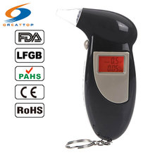 Factory Outlets +10 mouthpiece Digital LCD Key Chain Alcohol Tester Breath Analyzer Digital Breathalyzer Free Shipping