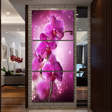 Rushed Canvas Painting Purple Orchid Flowers Wall Pictures For Living Room 3Pcs Unframed Modular Pictures Hot Cuadros Decoration