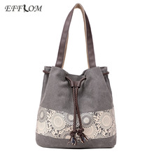 Spanish Brand Retro Cotton Canvas Women Shoulder Bags Denim Drawstring Bucket Bag Lace Flower Handbag Summer Beach Bag For Girls
