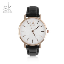 SK 2017 New Ladies Quartz Wristwatches Fashionable Watch PU Leather Band Curved Dial Accessory Wedding Party Gifts Jewellery