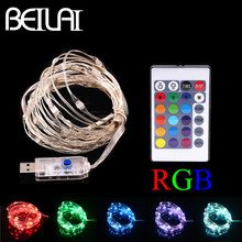 BEILAI RGB LED String Lights Waterproof 5M 50LED 5V USB Fairy LED Christmas Light Sliver Wire Party wedding Holiday with Remote(China)