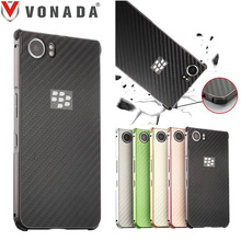 Vonada Case for Blackberry Keyone Business Aluminum Metal Frame Shockproof Plastic Carbon Fiber Sticker Back Phone Case Cover