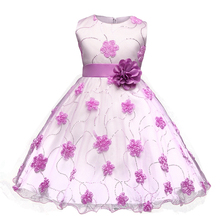 Flower Toddler Girl Dress Princess Costume Dresses Girl Weddding Party Wear Tulle Children Prom Gown Vestido Dress For 4-10Years