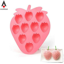 Wulekue Silicone Strawberry Shape Mold For Ice Frozen Cube Tray Cute Molds Maker Jelly Pudding Craft Soaps Bar Party Drink Mould