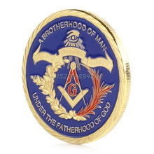 Gold Plated Masonic Brotherhood of Man Commemorative Challenge Coin Collection#T025#