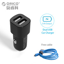 ORICO Dual Port USB Car Charger Mini Universal Fast Smart Phone Charger for Apple iPhone 7 LG Samsung Xiaomi with 1 Free Cable