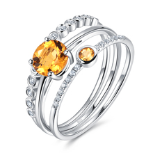 Atlantis 1.1ct 100% Genuine Yellow Citrine Sterling Silver Stackable Ring Set