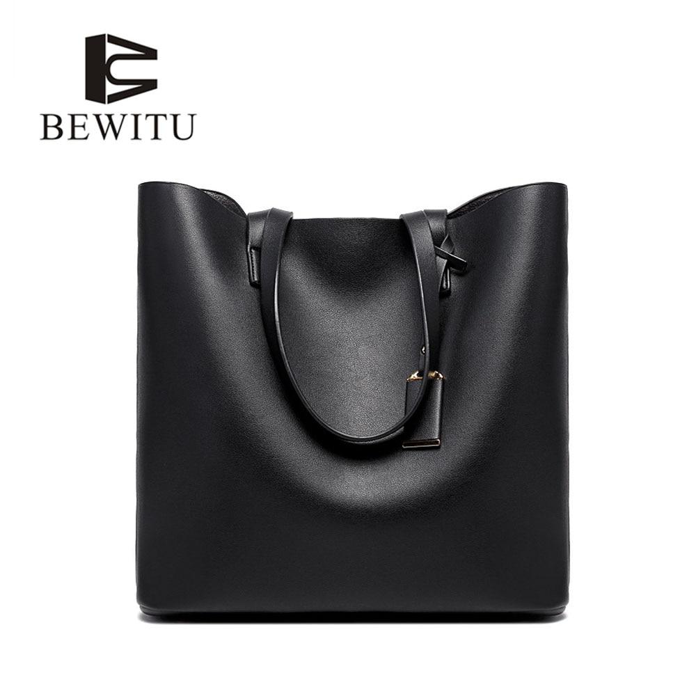 BEWITU Brand Design 2017 New Women Handbag Soft Shoulder Bag Casual Ladides Solid Totes Bags Hot Sale Fashion Tote Bag<br>
