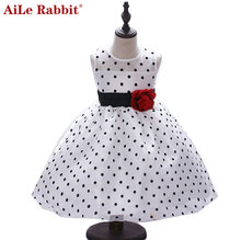 AiLe Rabbit New Arrival 2017 Princess Summer Girl Dress Classic White Black Polka Dots Children Dancing Dresses For Little Girl