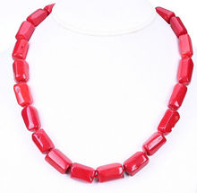 Women Gift word Love real Hot NEW Natural Beautiful 10x14mm Red Coral necklace 18'' AAA african beads silver indian dubai(China)