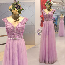 Real Sample Photo Tulle over Lace Cap Sleeve Prom Dresses Floor Length Violet Beaded Formal Evening Gown vestido de renda