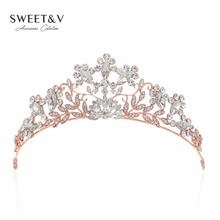 Rose Gold / Silver Crystal Tiara Bridal Crown Prom Hair Jewelry Princess Party Hats Decorations Rhinestone Head Pieces for Women(China)