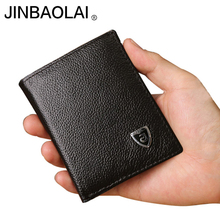 Small wallet men genuine leather purses cowhide mini wallets black and brown quality guarantee !!!(China)