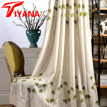 American countryside style Green Dandelion polyester cotton embroidered curtains for windows living room kitchen hp001#20